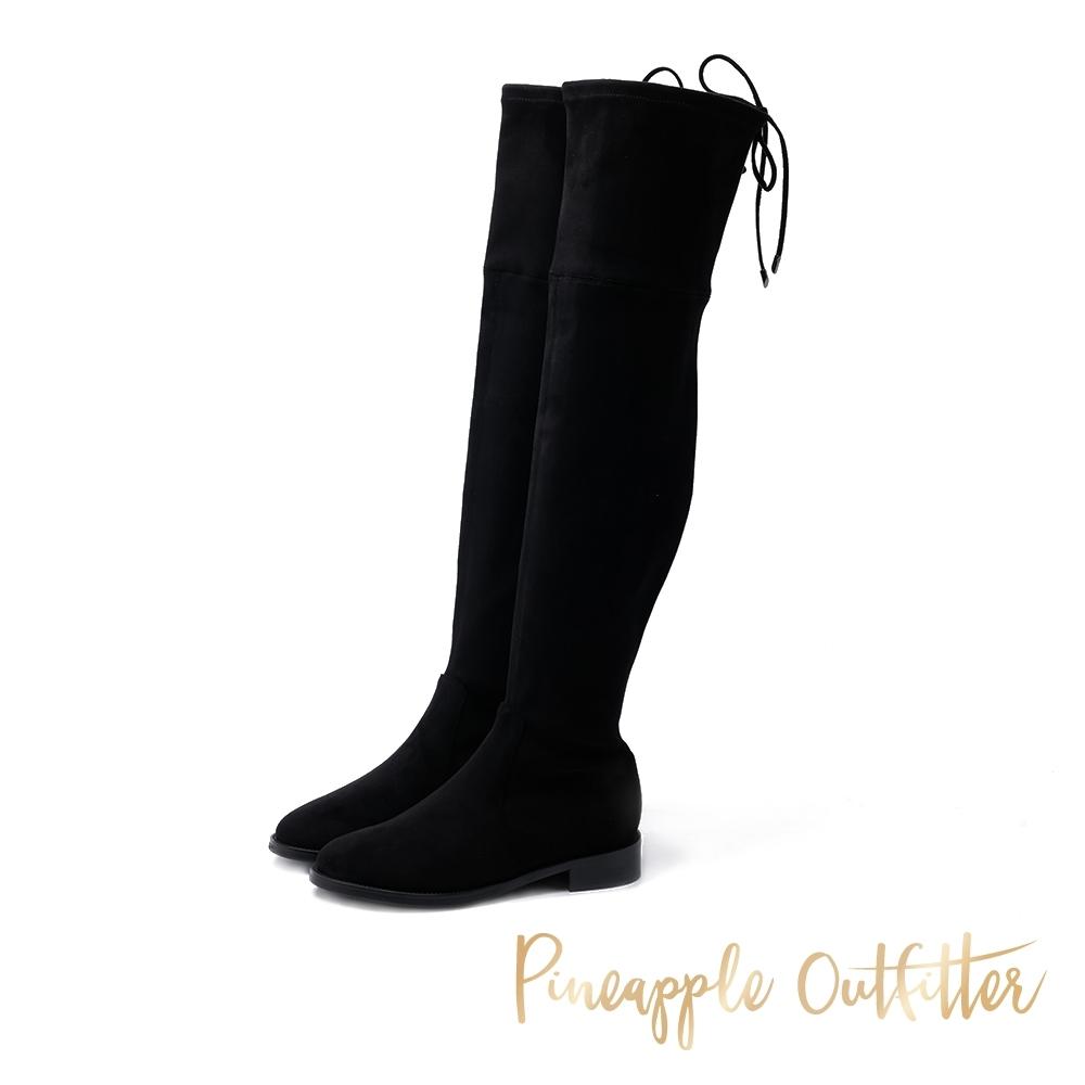 Pineapple Outfitter-LESLEY後綁帶平底過膝長靴-特殊紋黑色