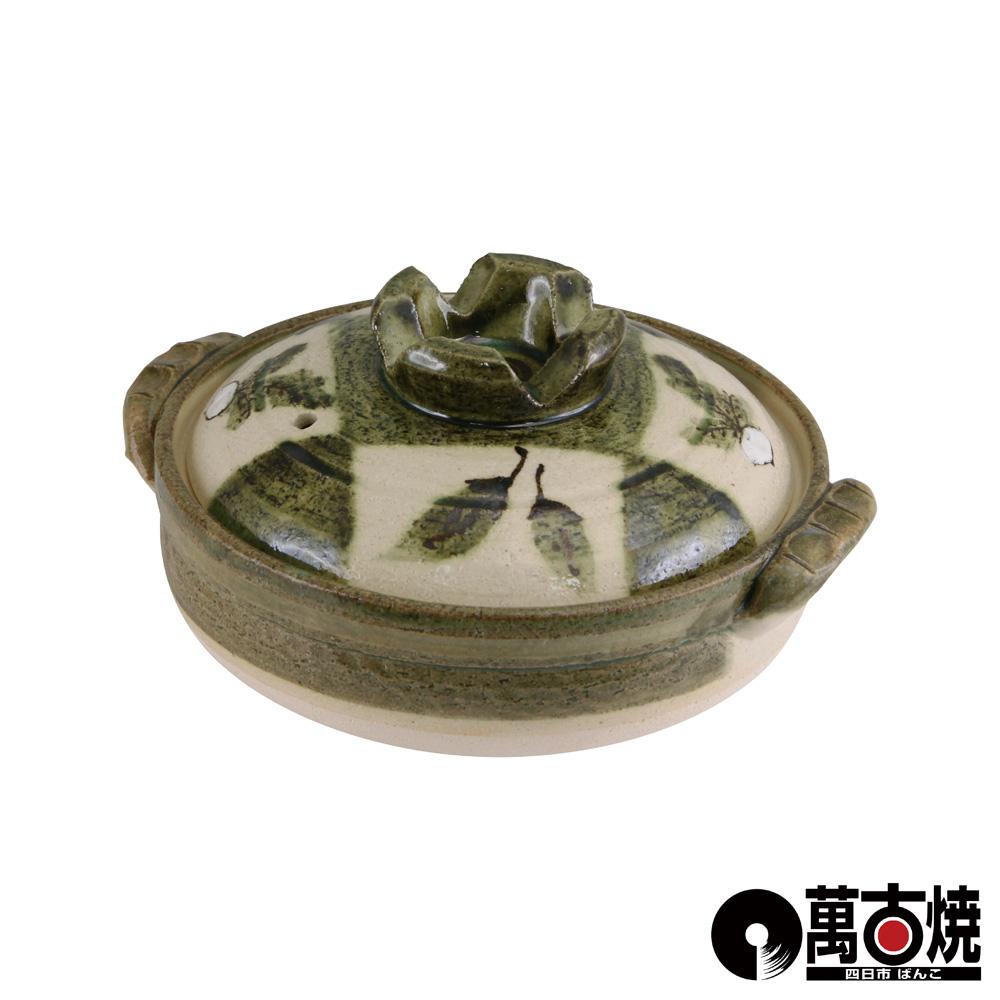 萬古燒 日本製市松野菜附蓋耐熱砂鍋-6號(適用1人)