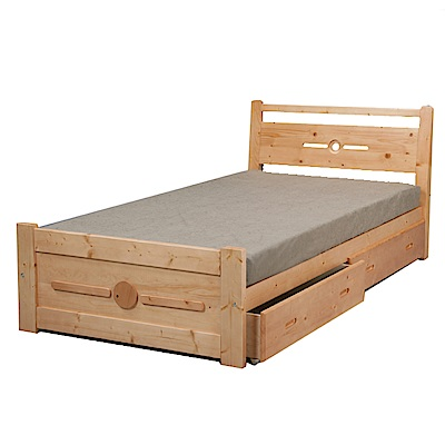 綠活居 馬斯特3.5尺單人抽屜床台(二抽床底+不含床墊)-105x195x81cm-免組
