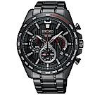 SEIKO 精工 登峰時尚 三眼計時 手錶 SSB311P1-黑/44mm