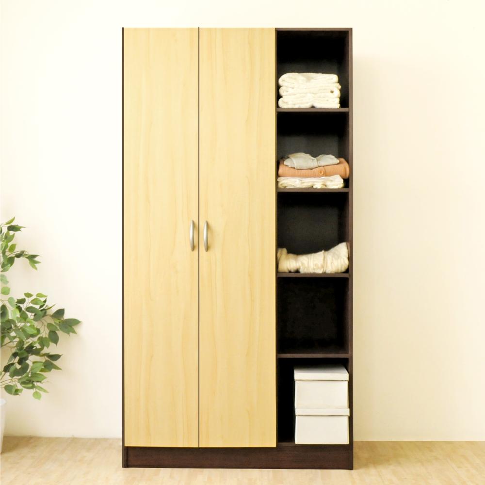 《HOPMA》DIY巧收鄉村二門五格衣櫃/衣櫥/櫃子-寬90 x深50 x高180cm
