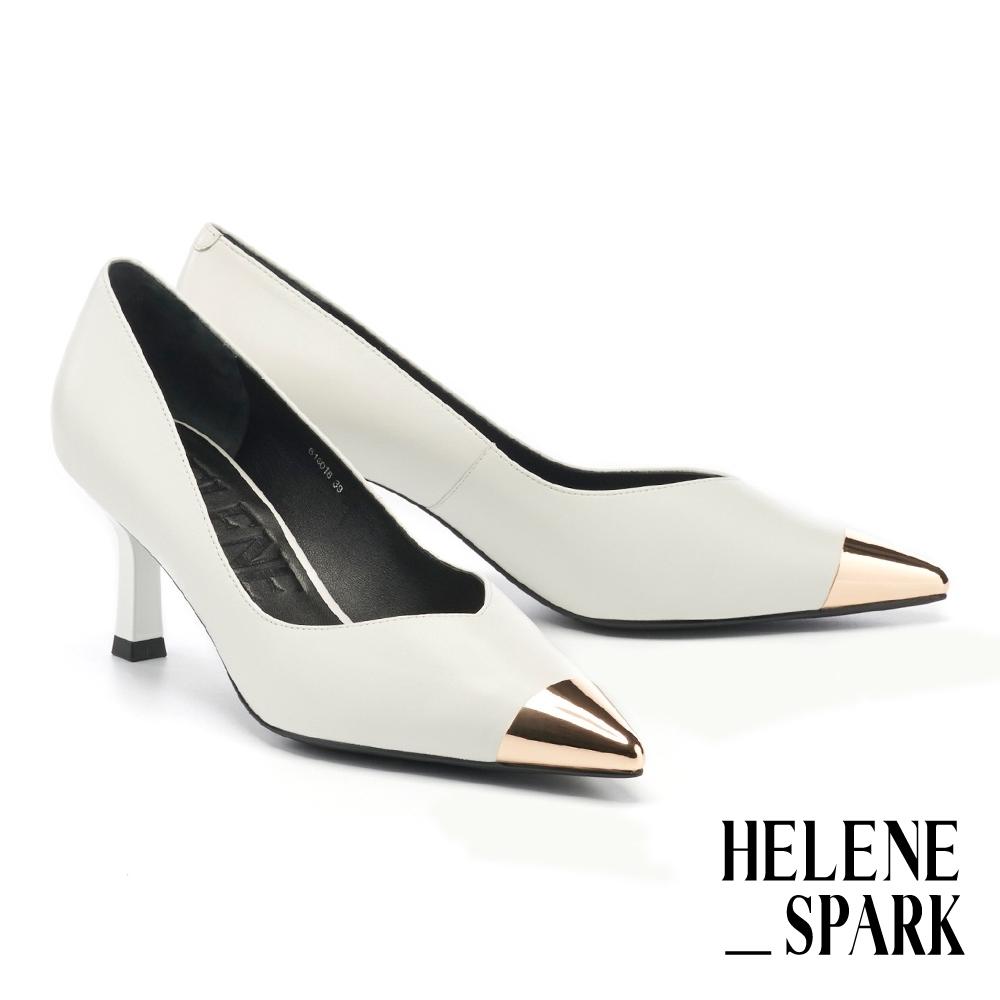 高跟鞋 HELENE SPARK 現代摩登金屬拼接羊皮尖頭高跟鞋-白