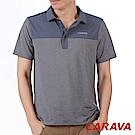 CARAVA《男條紋排汗POLO衫》(深灰藍)