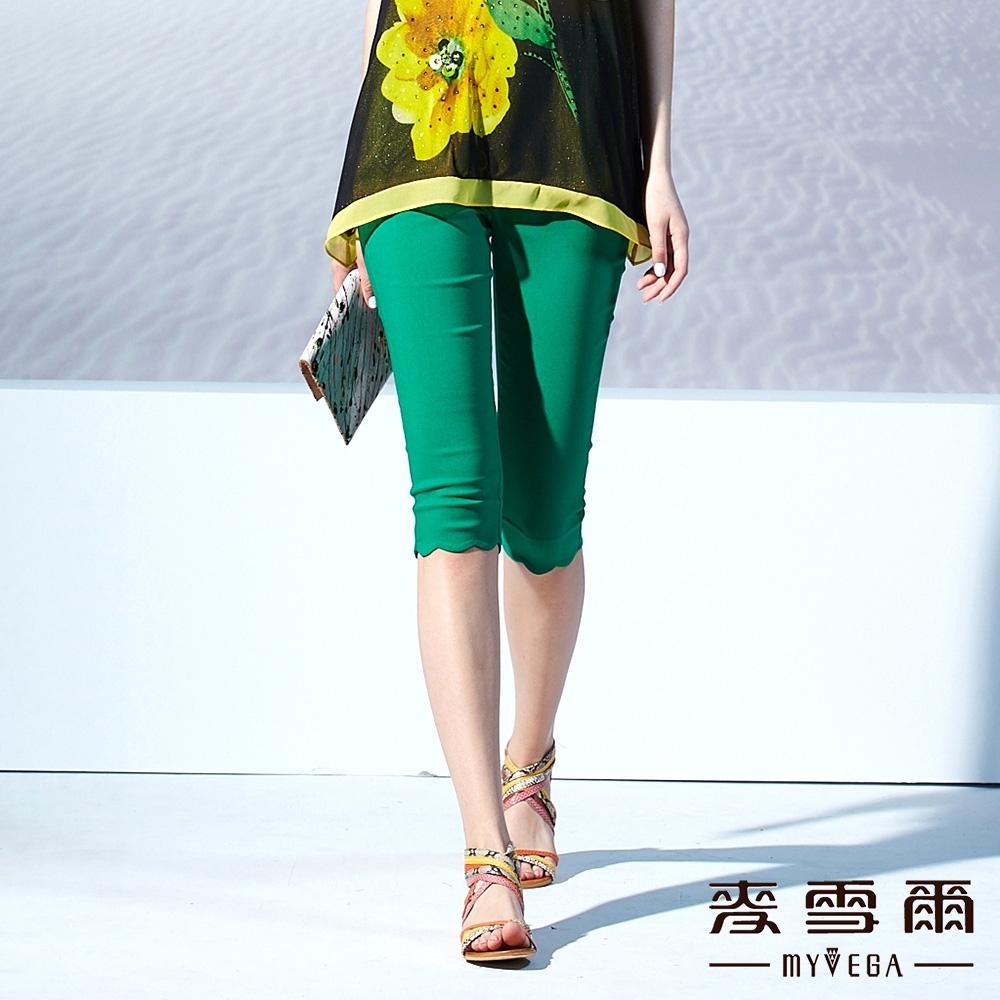 【麥雪爾】花邊素色五分褲-綠