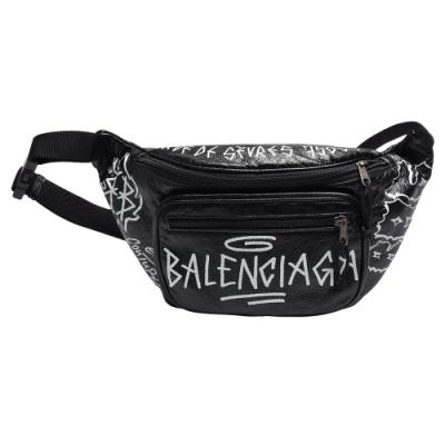 BALENCIAGA Explorer Arena白色塗鴉圖案羊皮腰包/斜背包(黑色)