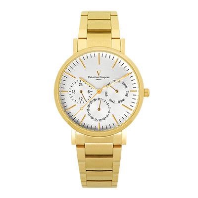Valentino Coupeau 范倫鐵諾 古柏 時尚三眼腕錶 (金殻/鋼帶/白面)