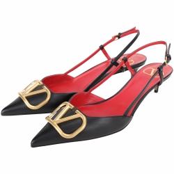 VALENTINO VLogo 小牛皮尖頭低跟穆勒鞋/涼鞋(黑色)