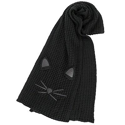 KARL LAGERFELD FUN CAT 金蔥貓咪黑色粗針織圍巾