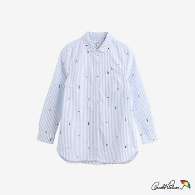 Arnold Palmer-女裝-主題滿版印長版全長袖襯衫-藍