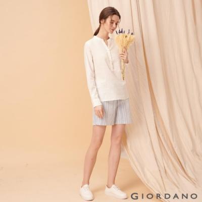 GIORDANO 女裝棉麻抽繩休閒短褲-56 淺藍/白條紋