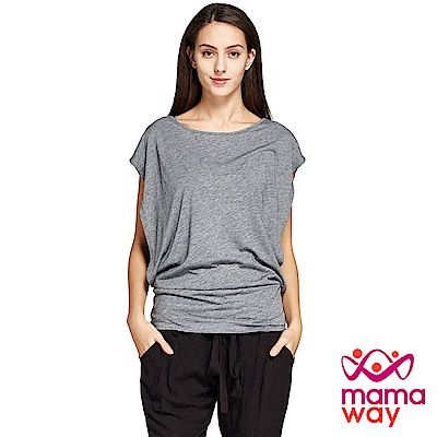 孕婦裝 哺乳衣 絲柔蝙蝠袖假兩件哺乳上衣(共二色) Mamaway