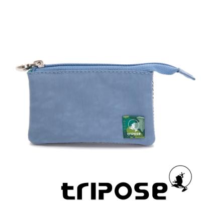 tripose 漫遊系列岩紋簡約微旅萬用零錢包 天空藍