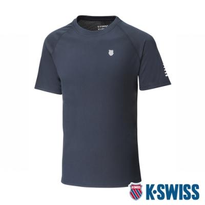 K-SWISS Reflective Logo Tee W/Mesh排汗T恤-男-黑