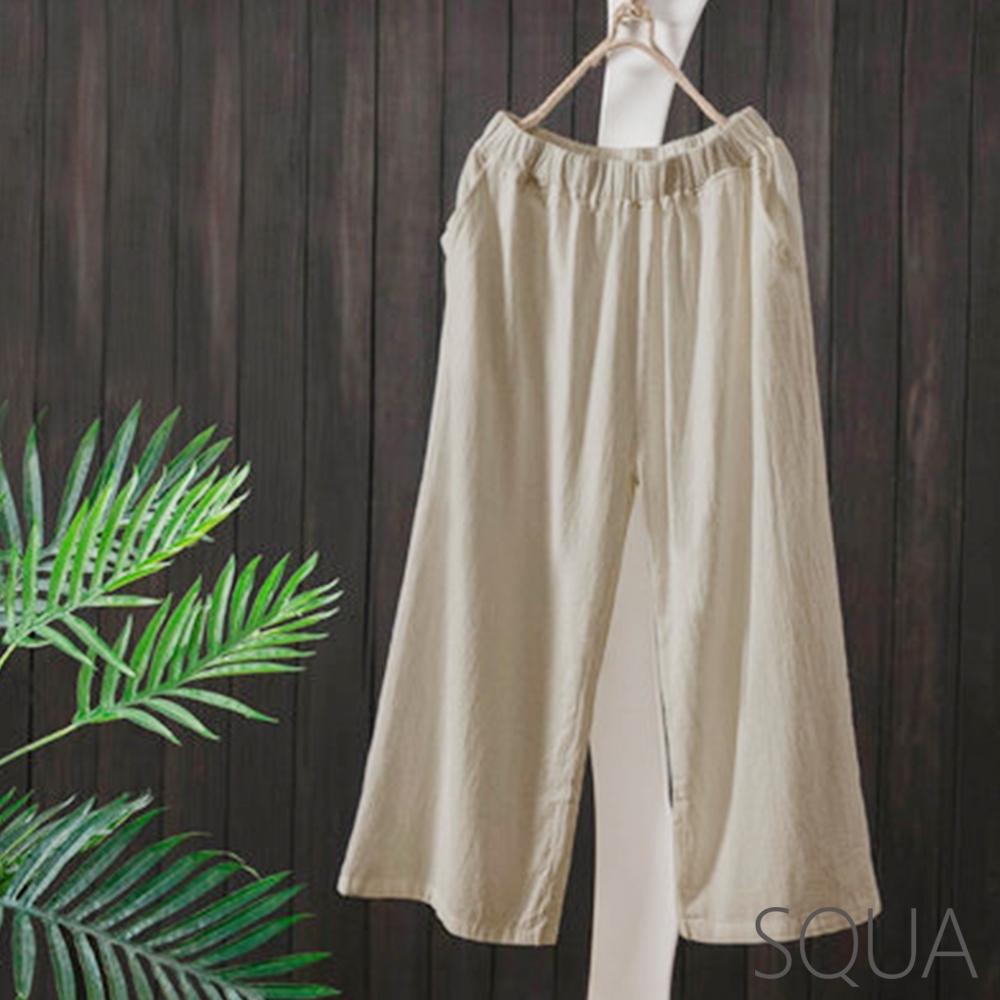 SQUA 素面棉麻直筒寬褲-二色-(M~XL)
