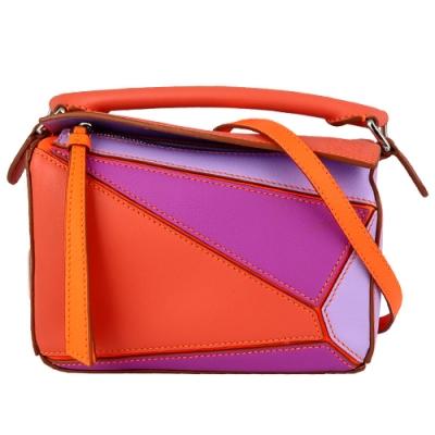 LOEWE Puzzle 軟質牛皮拼接迷你手提斜背包(橘/紫)