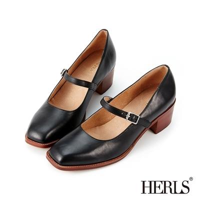 HERLS跟鞋 全真皮瑪莉珍方頭粗跟鞋 黑色