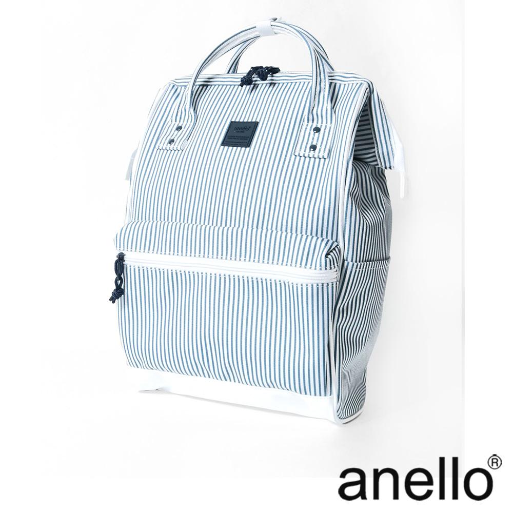 anello 簡雅配色口金式後背包 白條紋  L