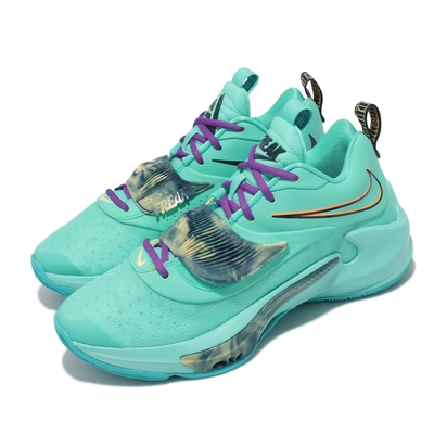 Nike 籃球鞋 Zoom Freak 3 EP 運動 男鞋 氣墊 避震 希臘怪物 字母哥 球鞋 藍綠  DA0695-400