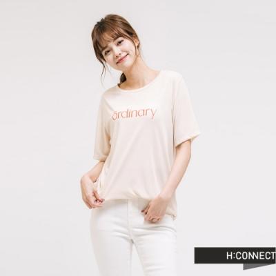 H:CONNECT 韓國品牌 女裝 - 簡約文字圓領短T - 卡其