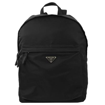 PRADA 三角logo經典尼龍拉鍊後背包(黑)