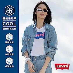Levis 女款 牛仔飛行外套 復古短版 彈力縮口下擺