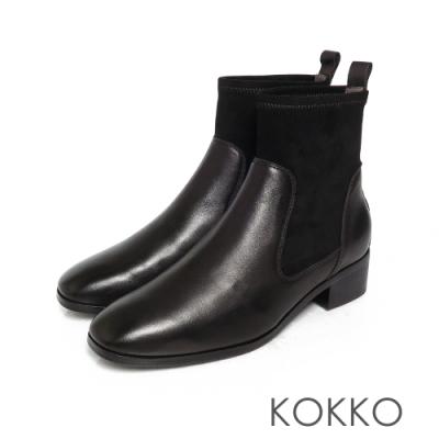 KOKKO時髦方頭拼接牛皮彈力粗跟襪靴黑色