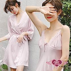 居家睡衣 玫瑰芬芳 素色二件式罩衫連身睡裙組(粉F) AngelHoney天使霓裳