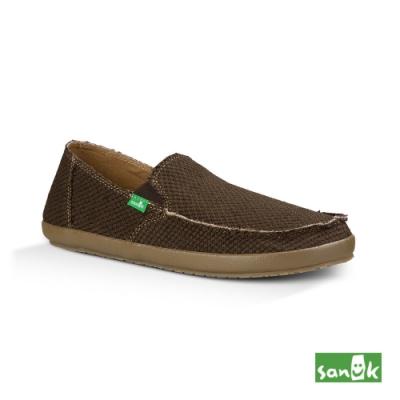 SANUK 男款 US9 麻布寬版懶人鞋(深咖啡色)