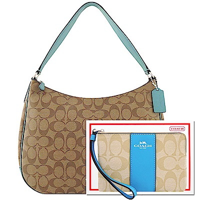 COACH 土耳其藍色大C PVC側肩包-大型+ COACH 水藍色大C PVC手拿包
