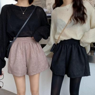 La Belleza鬆緊腰側口袋麂皮闊腿短褲