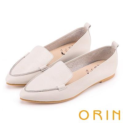 ORIN 優雅時髦  軟牛皮素面尖頭樂福鞋-米色
