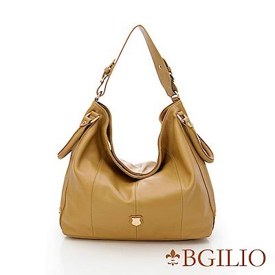 義大利BGilio-時尚都會NAPPA牛皮肩背包-駝色 887.001A-04