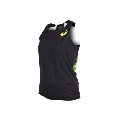 ASICS 女田徑背心-無袖上衣 競賽 慢跑 訓練 亞瑟士 黑螢光綠