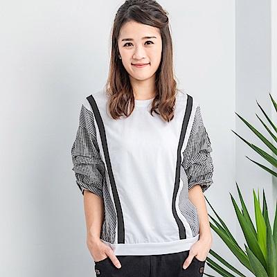【白鵝buyer 】設計師異質拼接泡泡袖五分袖上衣(2色可選)