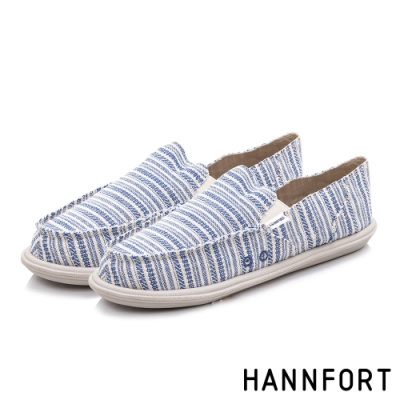 HANNFORT COZY可機洗平織布後踩氣墊鞋-男-條紋藍(8H)