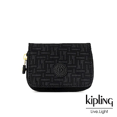 Kipling 黑色幾何紋路短夾-TOPS