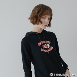 GIORDANO 女裝Retro Wave復古印花連帽T恤-22 標誌黑