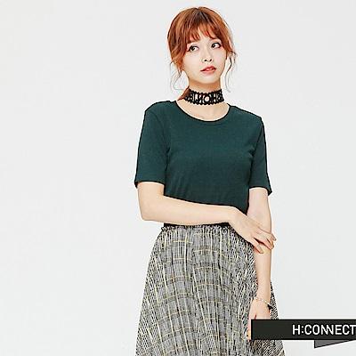 H:CONNECT 韓國品牌 女裝-修身薄針織短上衣-綠