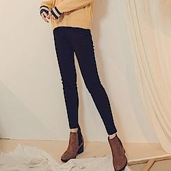 純色高含棉腰鬆緊彈力高腰收腹窄管褲-OB大尺碼