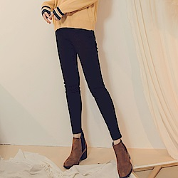 純色高含棉腰鬆緊彈力高腰收腹窄管褲-OB嚴選