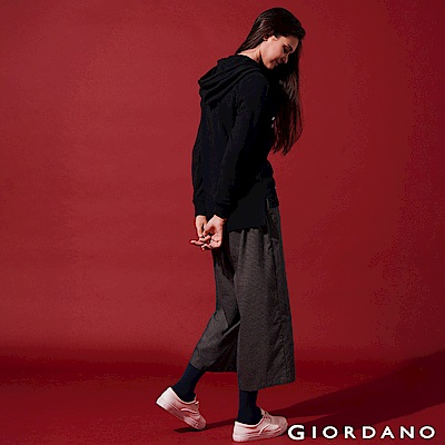 GIORDANO 女裝英倫風格紋寬褲-02 黑灰格紋