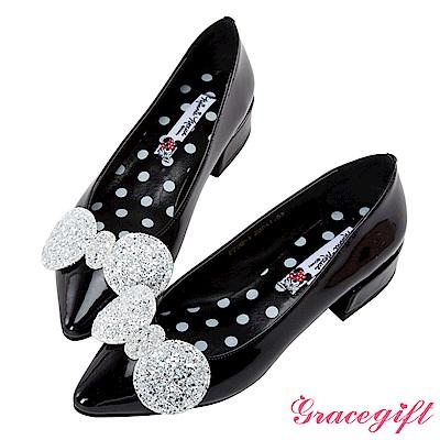 Disney collection by grace gift復古漆皮尖頭低跟鞋 黑