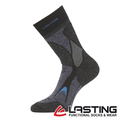 【LASTING捷克】男款美麗諾羊毛抗菌除臭吸濕排汗中筒保暖襪/厚襪LT-TRX深灰