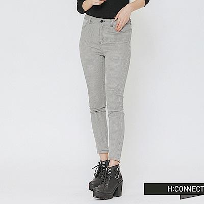 H:CONNECT 韓國品牌 女裝-細格紋口袋造型長褲-黑