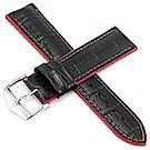 海奕施 HIRSCH AndyL 橡膠複合式小牛皮錶帶-紅