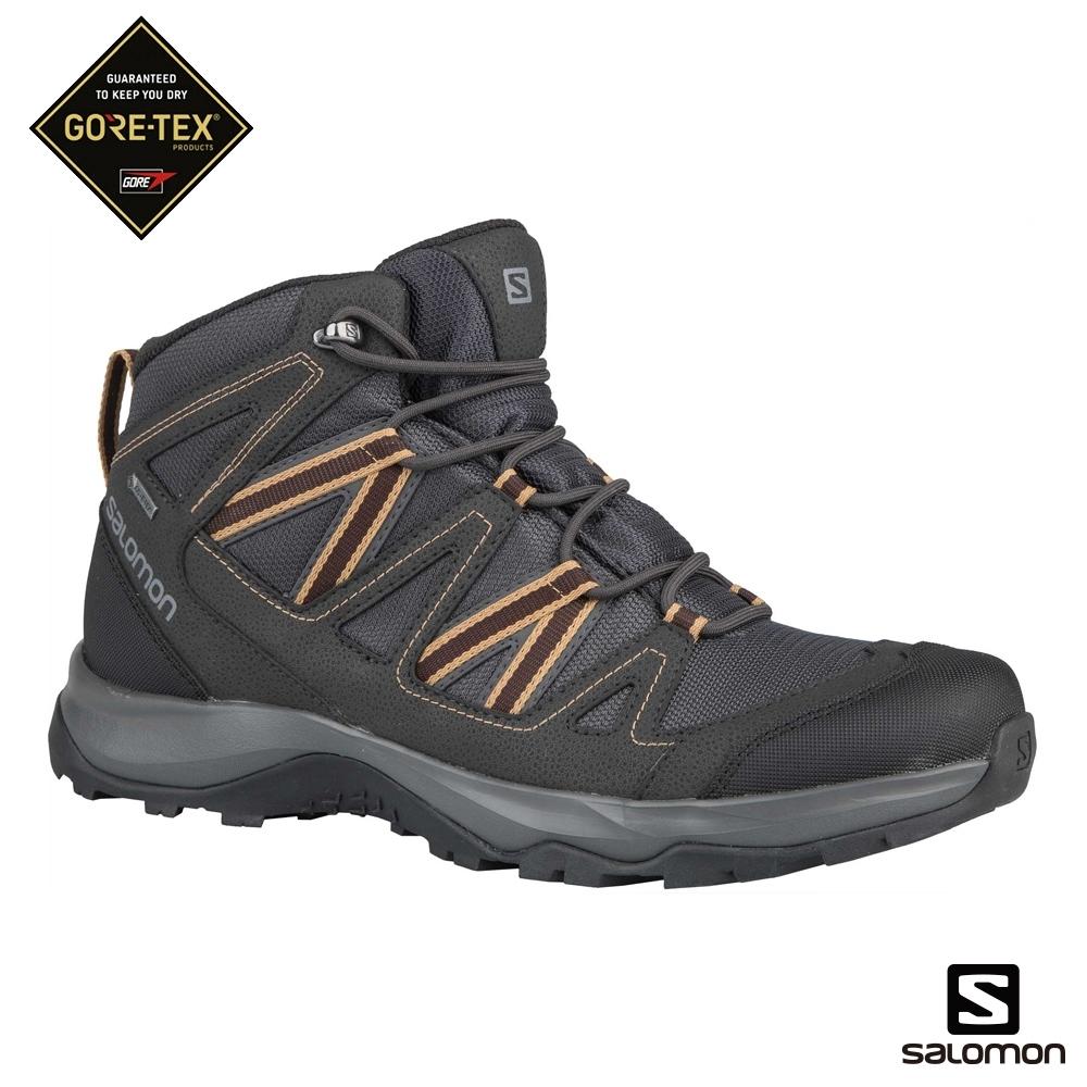 Salomon 男 GORETEX 中筒登山鞋 LEIGHTON 磁灰
