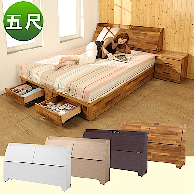 BuyJM雙人5尺2件式房間組(床頭箱+二抽床底)4色-免組