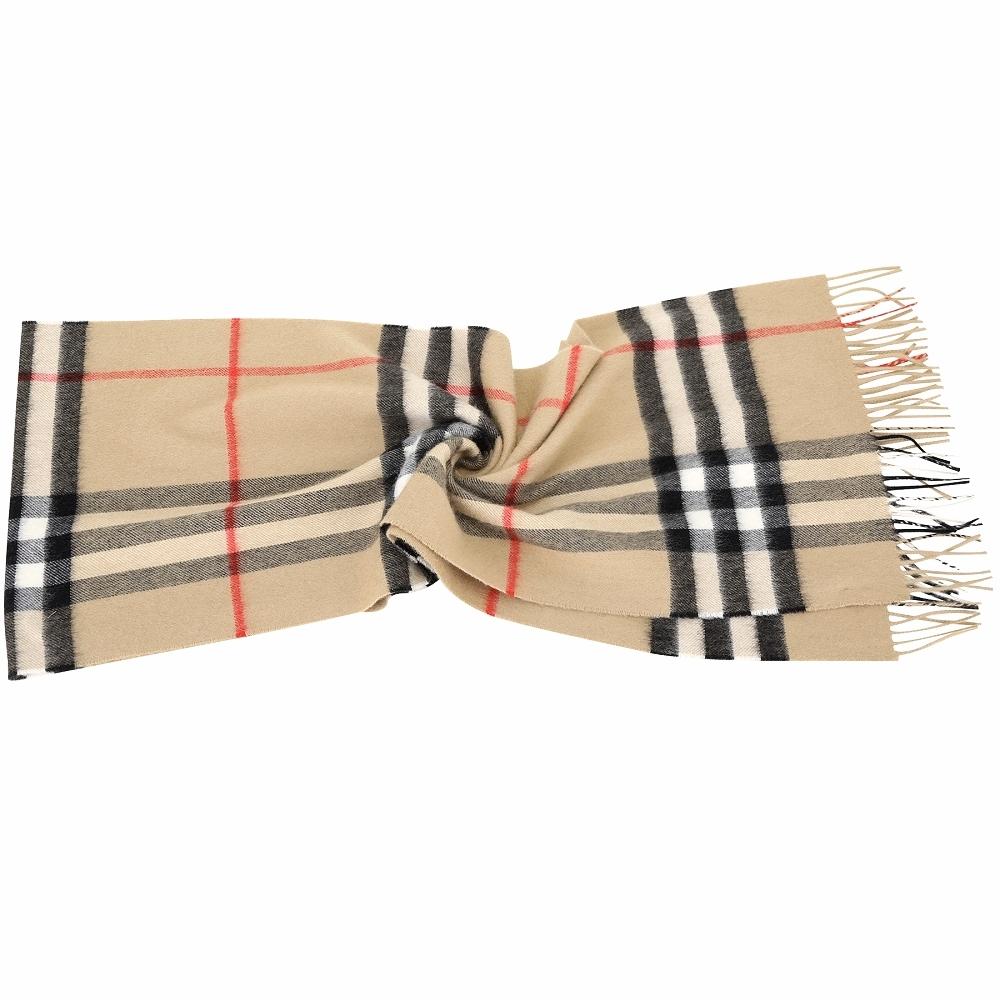 BURBERRY 100%喀什米爾 典藏米色格紋羊毛圍巾