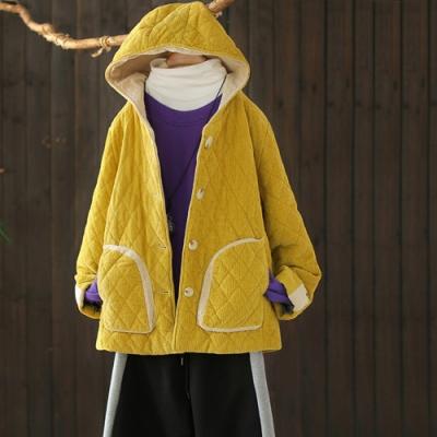 純棉撞色菱格夾棉燈芯絨連帽寬鬆棉衣外套-設計所在
