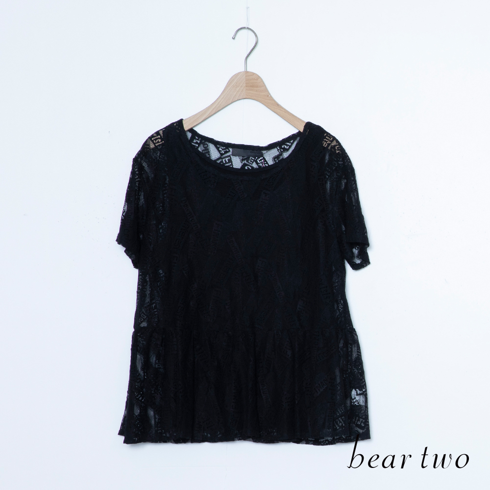 beartwo 假兩件式透膚雕花蕾絲上衣(二色)